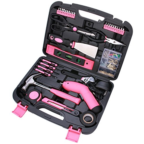 Best Choice 135-Piece Pink Tool Kit with Cordless Screwdriver - All Purpose Household Tool Set in Toolbox Storage Case