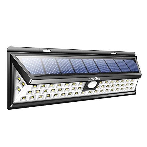 Litom Super Bright Solar Lights 54 LED Solar Power Outdoor Motion Sensor Light With LED on Both (Outdoor Led)