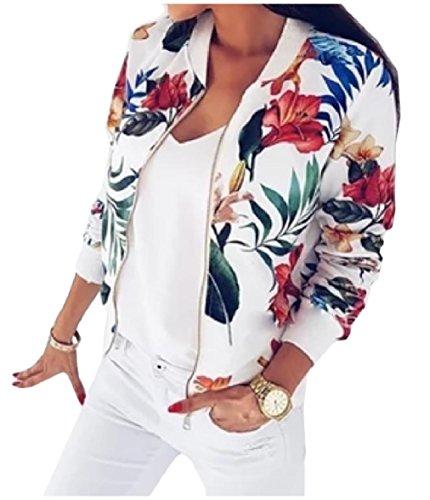 XINHEO Womens Zipper Outwear Open Front Printing Spring/Autumn Jackets White