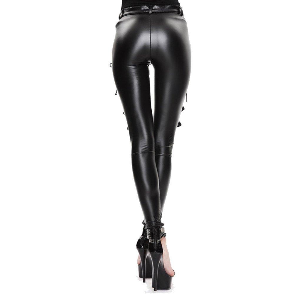 fd0318e174d Devil Fashion Gothic Punk Sexy Women Leather Leggings Pants Black Bandage  Stretch Skinny Tights Leggings at Amazon Women s Clothing store