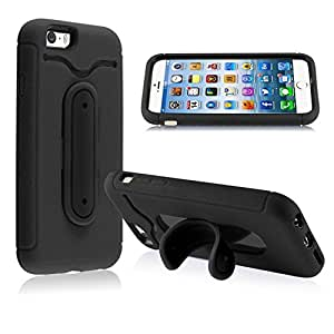 INSTEN Hard Skin with Metal Kickstand and ID Holder Layer Combo Cover for Apple iPhone 6 - Retail Packaging - Black