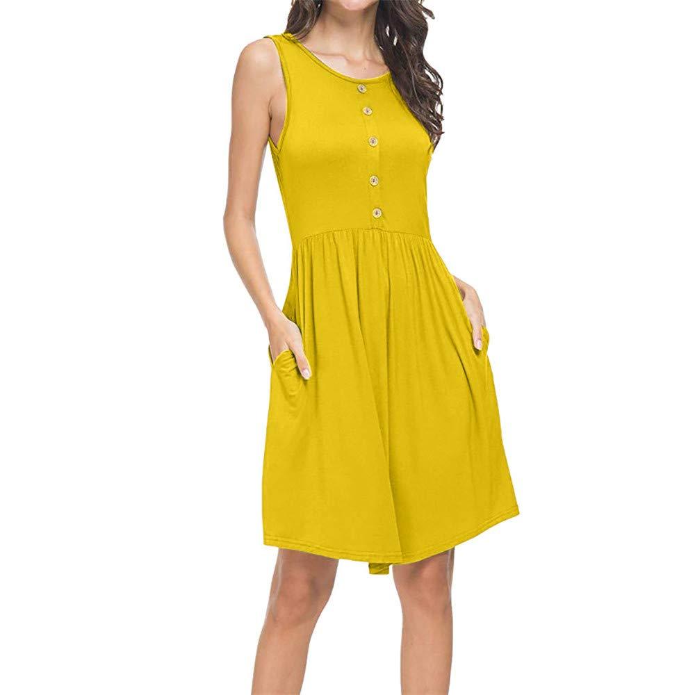 BAOHOKE Women's Pocket Sleeveless Tank Tops Mini Dresses,Simple Solid Plus Size Tunic Pleated Sundress(Yellow,XXL)