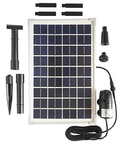 Solar Water Pump Kit - 200GPH Submersible Water Pump and 10 Watt Solar Panel for Sun Powered Fountain, Waterfall, Pond Aeration, Hydroponics, Aquarium, Aquaculture (No Battery ()