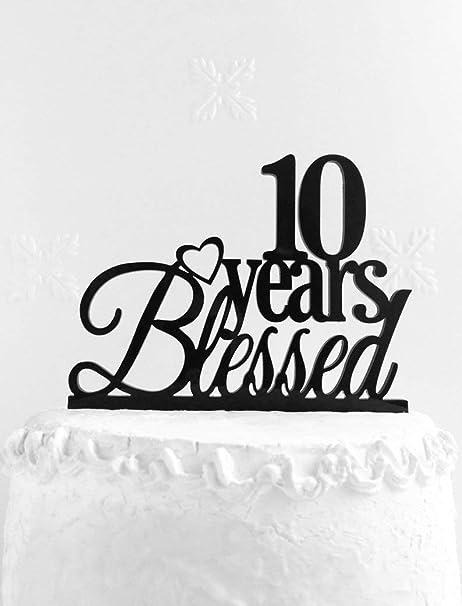 Decoración para tarta de cumpleaños número 10, 10 años de ...
