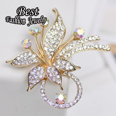 Price comparison product image Bosun(TM) New Style Synthetic Crystal Women Brooch Original Upscale Flower Decoration Lady Jewelry