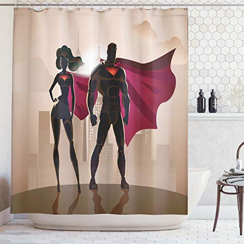 Ambesonne Superhero Shower Curtain, Super Woman and Man Heroes in City Hot Couple in Costume Pattern, Cloth Fabric Bathroom Decor Set with Hooks, 70 Inches, Beige Brown]()