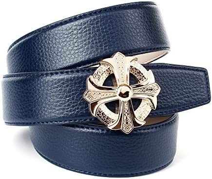 Anthoni Crown Jeans Damengürtel, Schließe Goldfarbene, dunkelblau, 4 cm Breite, 85-110 cm /4MBT80