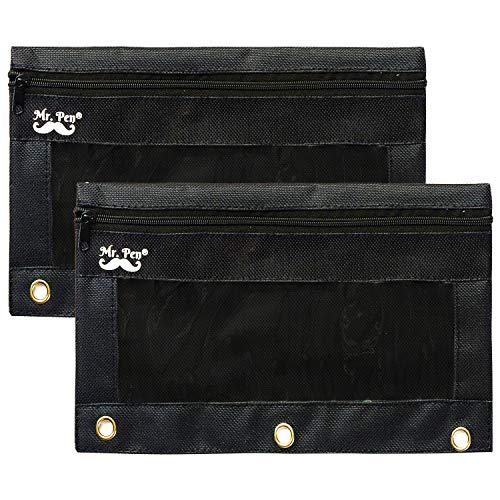 - Mr. Pen - Black Pencil Pouch, 2 Fabric Pencil Pouches, Binder Pockets, Black Pencil Case, Binder Pouch, Black Pencil Bags, Pencil Pouch 3 Ring, Pencil Bags with Zipper, Zippered Pencil Pouch