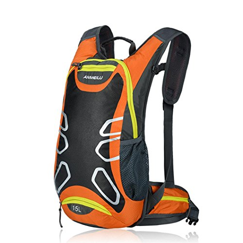Hydration Backpack, lanowo 15L Outdoor Leicht Hydration Backpack Running Rucksack Radfahren Rucksack Wasserdichter Rucksack Wandern Daypack Tactical Hydration Pack Sport Helm Tasche, Orange