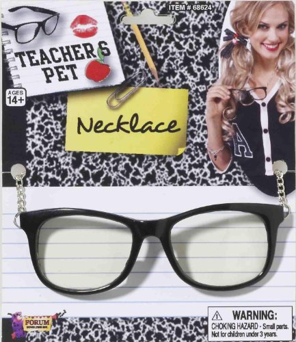 Teachers Pet Costumes (Teacher's Pet Adult Glasses with Chain, One-Size, Black)