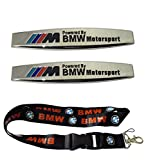 New 1pcs BMW Keychain Lanyard Badge Holder + 2pcs set Car Styling Accessories Chromed Emblem Badge Decal Fender Side Sticker Metal M For BMW
