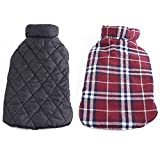 Image of REXSONN Pet Dog cats Cozy Windproof Jacket Winter Warm Apparel Grid Plaid Reversible Coat Coats for small Puppy medium large dogs
