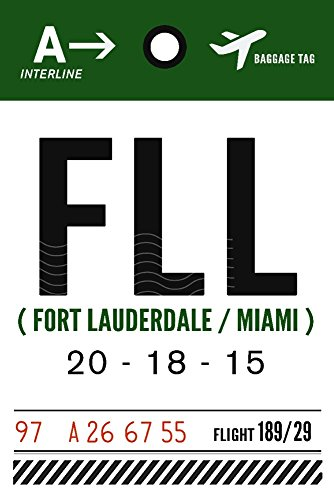 Fort Lauderdale, Florida - FFL - Luggage Tag (12x18 Gallery Quality Metal - Fort In Lauderdale Style