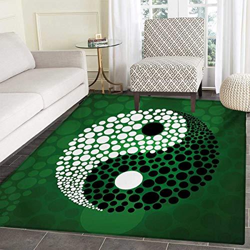 (Ying Yang Door Mat Rug Digital Style Yin Yang Symbol Form Nature Zen Themed Meditation Dots Print Bath Mat 3D Digital Printing Mat 48
