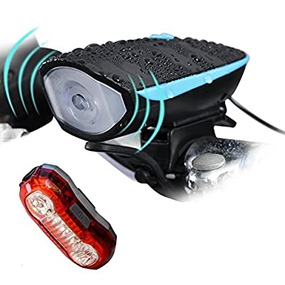 DAWAY A15 LED Bike Light Set- USB Rechargeable Super Bright Waterproof Bicycle Taillight and Headlight with 120 DB Loud Horn for Cycling (Blue)