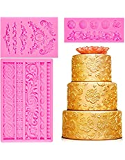 M-Aimee 3 Pieces Baroque Fondant Mold Scroll Border Lace Molds Curlicues Fondant Silicone Molds for DIY Baking Cake Candy Decoration, Polymer Clay, Sugar Craft
