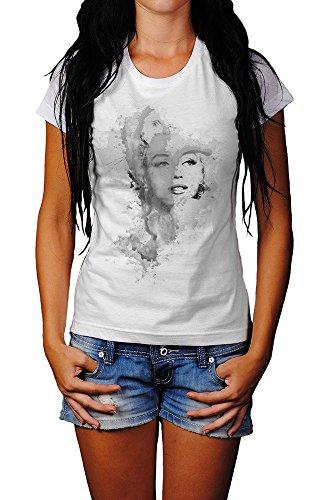 Marilyn Monroe III-(2) T-Shirt Mädchen Frauen, weiß mit Aufdruck