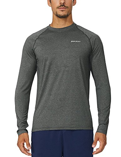 Baleaf Men's Cool Running Workout Long Sleeve T-Shirt Grey Size - Shirts Men Running