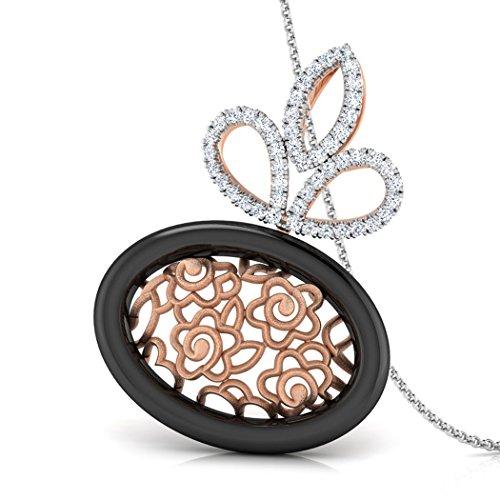 Or Rose 14K 0,31CT TW Round-cut-diamond (IJ | SI) et pendentif en onyx Noir