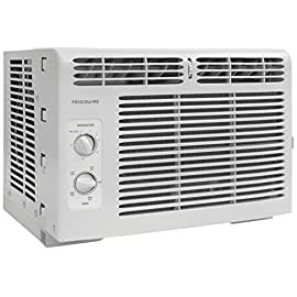 Frigidaire FFRA0511R1E 5, 000 BTU 115V Window-Mounted Mini-Compact Air Conditioner with Mechanical Controls 20 5,000 BTU mini-compact air conditioner for window-mounted installation uses standard 115V electrical outlet (Window mounting kit included) Quickly cools a room up to 150 sq. ft. with dehumidification up to 1.1 pints per hour Mechanical rotary controls, 2 cool speeds, 2 fan speeds, and 2-way air direction.Accommodates windows with a minimum height of 13 inches and width of 23 inches to 36 inches