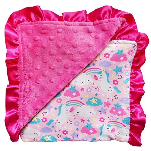 Pink Unicorn Blanket with Minky Dot
