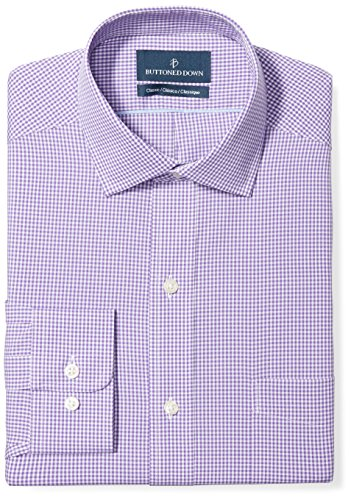 BUTTONED DOWN Men's Classic Fit Spread-Collar Pattern Non-Iron Dress Shirt, Purple Gingham, 17.5