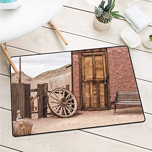 Custom&blanket Barn Wood Wagon Wheel Welcome Door Mat Abandoned Old Farmhouse Doorway Traditional Rustic Outdoors for Entrances, Garages, Patios (W19.7 X L31.5 inch,Umber Light Brown)