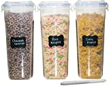 #7: MiCasa Cereal & Dry Food Storage Container Set of 3 (16.9 Cup / 135.2oz) Airtight + 8 FREE Chalkboard Labels + 1 FREE Liquid Chalk Marker - Great for Flour, Sugar, Rice, Grains, Coffee, Pet Food