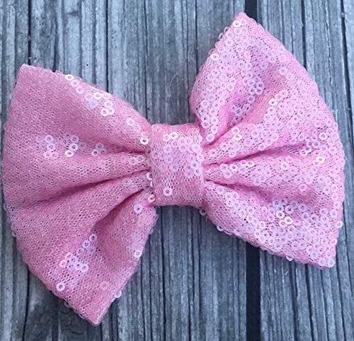 Pink Glitter Pigtails Boutique Hair Bows Blush Little Girl Shimmer