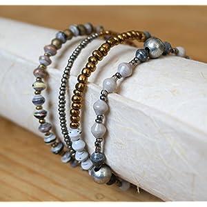 Paper Bead Bracelet Trio - Grey - Fair Trade BeadforLife Jewelry from Africa