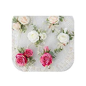 Silk Rose Hand Flower Rose Red Boutonniere for Men White Champagne Groomsmen Wedding Corsage Boutonnieres Set Brooch 44