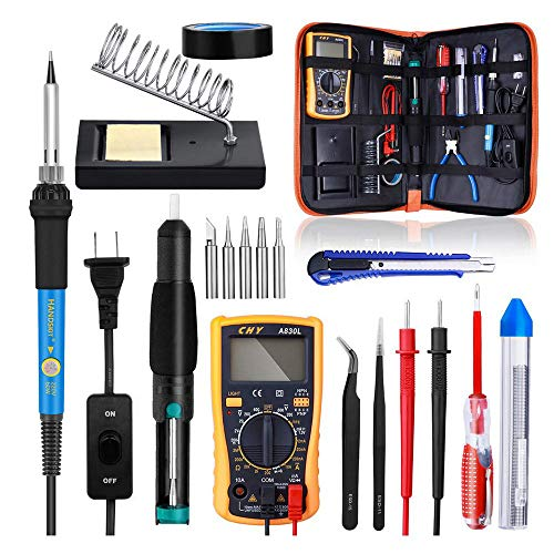 Soldering Iron Set,18-in-1 110V Multimedia Watch-Iron Combination Set, 60W Temperature-Adjustable Welding Torch Toolkit