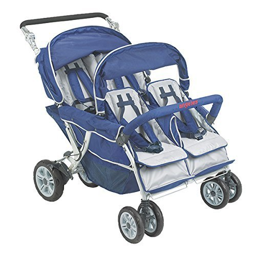 Angeles 4 Passenger SureStop Folding Commercial Bye-Bye Stroller, Blue/Grey - for Ages 6 Months+ - Easy to Maneuver on Any Surface - No-Roll Technology, Locking Foot Pedal Brake - Sturdy, Lightweight by Angeles
