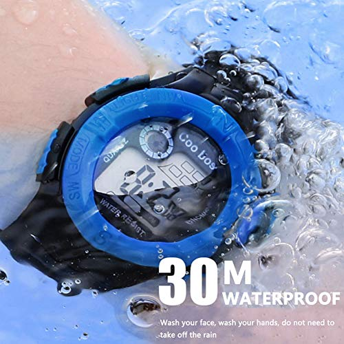 coobos - Reloj Digital para Niños Niñas Multifuncional a Prueba Agua Reloj de Pulsera con Luz Alarma Deportes - Negro: Amazon.es: Relojes
