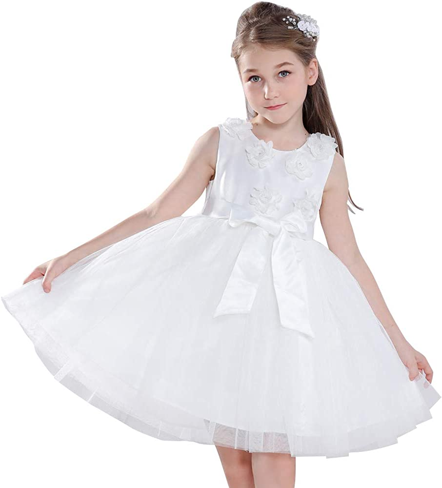 panafei Girls Party Ball Gown Embroidered Tulle Bow Tie Princess Dress 2-12Y