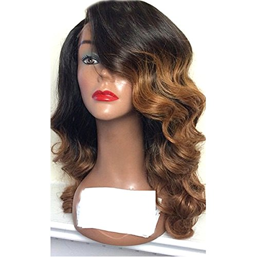 Doubleleafwig Body Wave Human Hair Lace Front Wigs 130% Density Brazilian Virgin Full Lace Wig with Baby Hair for Black Women 1B Ombre #4 Color (20 Inch, Lace Front Wig)