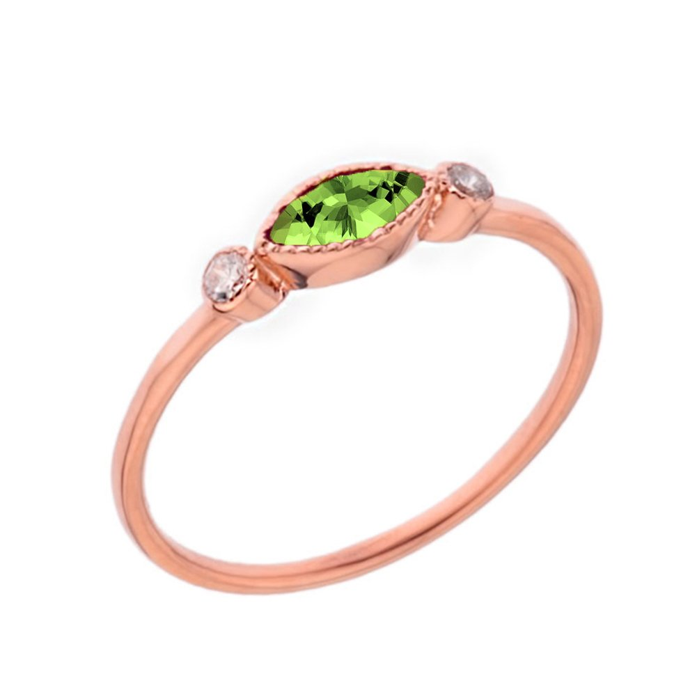 25dba6481 Amazon.com: Dainty 10k Rose Gold Solitaire Peridot and White Topaz Modern  Engagement/Proposal Ring: Jewelry