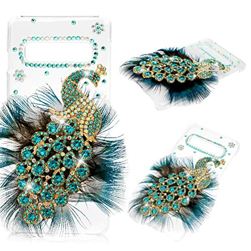 Galaxy S10 Case, Mavis's Diary 3D Handmade Bling Crystal Luxury Peacock with Green Blue Feather and Shiny Glitter Sparkly Diamond Rhinestone Clear Hard Back Case Cover for Samsung Galaxy S10 ()