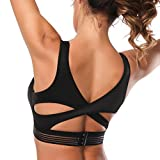 Kamier Sports Bra Padded for Gym Workout Activewear Yoga Running Bra(Black,Medium)