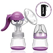 Manual Breast Pump - Nine States Silicone Breastmilk Pump with Lid 100% Food Grade BPA-Free - Portable Breast Milk Collector