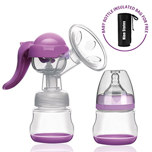 Manual Breast Pump – Nine States Silicone Breastmilk Pump with Lid 100% Food Grade BPA-Free – Portable Breast Milk Collector