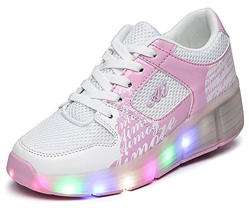 Christmas Halloween Gift Kids Led Roller Skate Shoes with Single Wheel Retractable Outdoor Sport Sneaker (Pink 1wheel 10 M US -