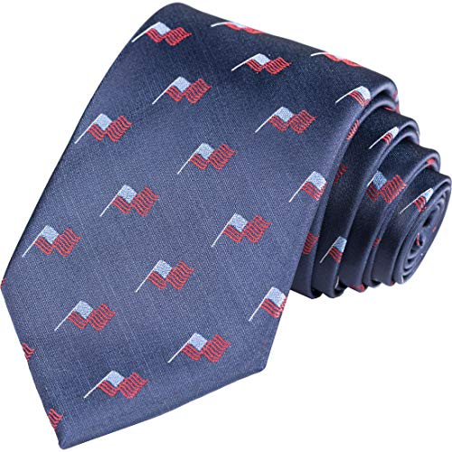 KissTies 100% Silk XL Tie USA Patriotic Necktie 4th Of July Flag Ties + Gift Box