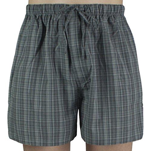 Gray Cotton Boxer Shorts - Leisureland Men's Cotton Poplin Pajama Lounge Sleep Boxer Shorts Plaid Gray XL