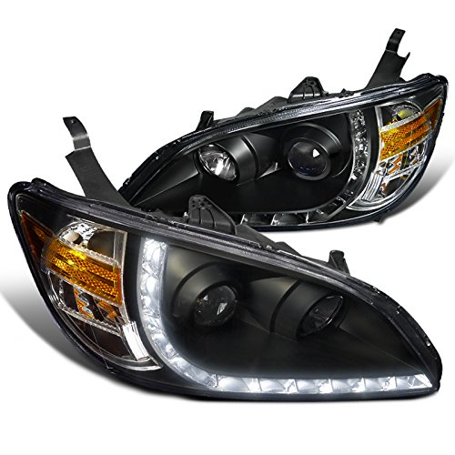 Spec-D Tuning 2LHP-CV04JM-8-RS Honda Civic Ex Dx R8 Style Black Halo Projector Headlights