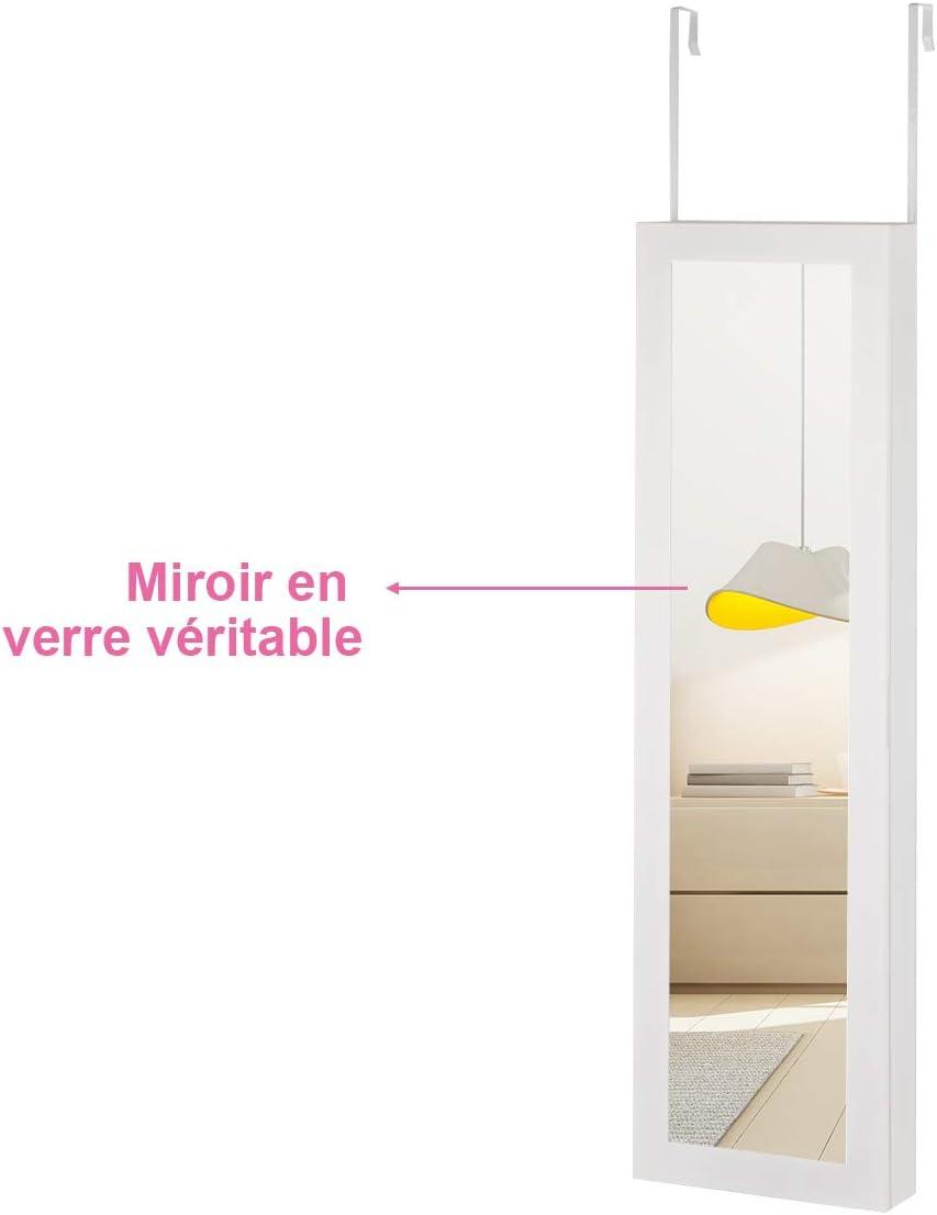 Costway - Armario para joyas de pared con espejo de luces LED para maquillaje, 5 estantes multiángulos, para expositor de pulseras, collares, 30 x 8,5 x 106 cm, color blanco: Amazon.es: Bricolaje y herramientas