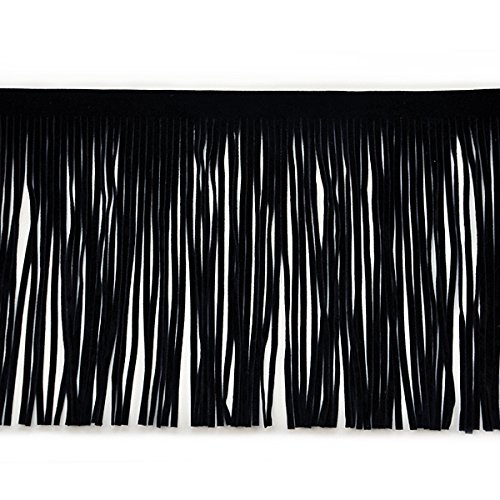 Expo International 6-Inch Faux Suede Fringe Trim Embellishment, 10-Yard, Black by Expo International