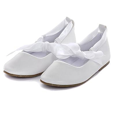 8722ff1f0499 Kid s Dream White Ballerina Ribbon Tie Rubber Sole Shoes Little Girl 1