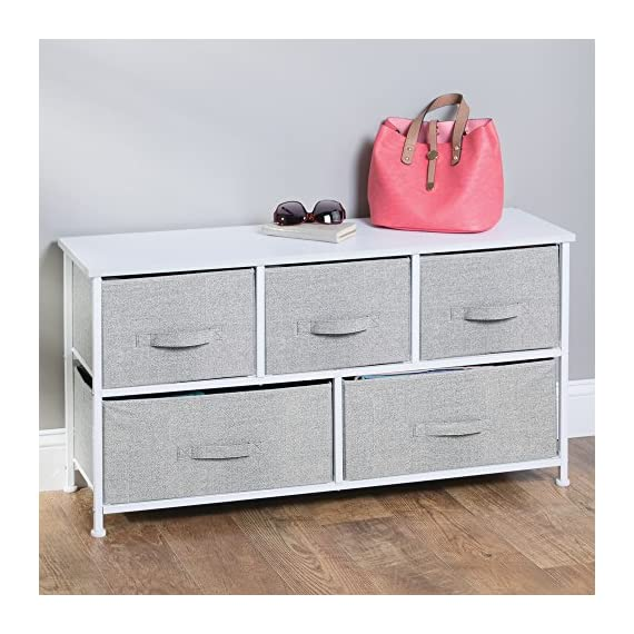 InterDesign Aldo Fabric 5-Drawer Dresser and Storage Organizer Unit for Bedroom, Apartment, Small Living Spaces – Gray - VERSATILE STORAGE SOLUTIONS – Offering two large bins and three smaller ones, this unit can be used as an extra dresser for storing out-of-season clothes, shirts, sweaters, jeans, hats, underwear, bras, blankets, purses, towels and even extra craft supplies or laundry essentials STYLISH FOR ANY ENVIRONMENT – Offers the perfect balance between modern design and function with its neutral gray jute pattern accented by its durable white steel frame PERFECT FOR TIGHT SPACES – Great for adding more storage space in compact living areas like a bedroom, guest room, craft room, hall or entryway - dressers-bedroom-furniture, bedroom-furniture, bedroom - 51s73h9q0fL. SS570  -