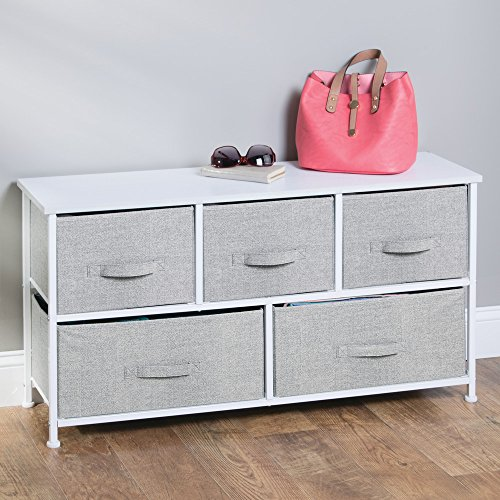 InterDesign Aldo Fabric 5-Drawer Dresser and Storage Organizer Unit for Bedroom, Apartment, Small Living Spaces – Gray by InterDesign (Image #2)'